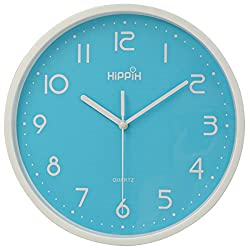 Hippih 10 Silent Non-ticking Quartz Digital Wall Clock,Blue
