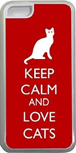 Rikki KnightTM Keep Calm and Love Cats Red Color Design iPhone 5c Case Cover (Clear Rubber with bumper protection) for Apple iPhone 5c by ruishername