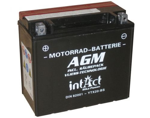 12  V 18  Ah Batterie ytx20  BS (150  x 87  x 161  mm) pour Harley Davidson Intact