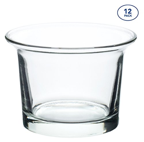 Candle Holder Glass Votive for Wedding, Birthday, Holiday & Home Decoration by Royal Imports, Oyster, Set of 12 - Unfilled