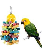Wiszące drewniane gryzaki dla papug Klatka dla ptaków Akcesoria do gryzienia Huśtawka Odpowiednia dla papug, papug, ary, szarych papug, drewnianego klocka