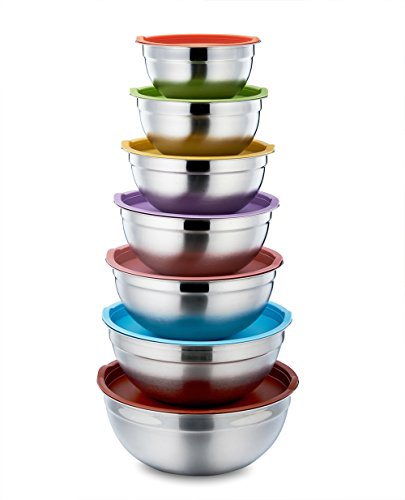 - P&P CHEF Mixing Bowls with Lids, 14-Piece Stainless Steel Mixing Bowl Set for Baking Cooking Fruit Salad - Multi Size 1/2/3/4/5/6/8 Quart