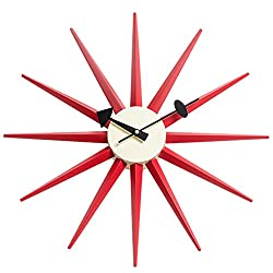 Emorden Furniture George Nelson Sunburst Clock, Atomic Wooden Wall Clock Mid Century Antique Retro Nelson Style(Red)
