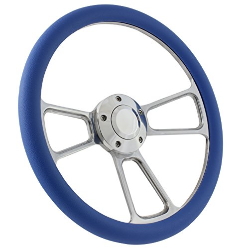 (Boat Steering Wheel 14 Inch Aluminum With Sky Blue Vinyl Half Wrap, Horn Button, and Installation Adapter)