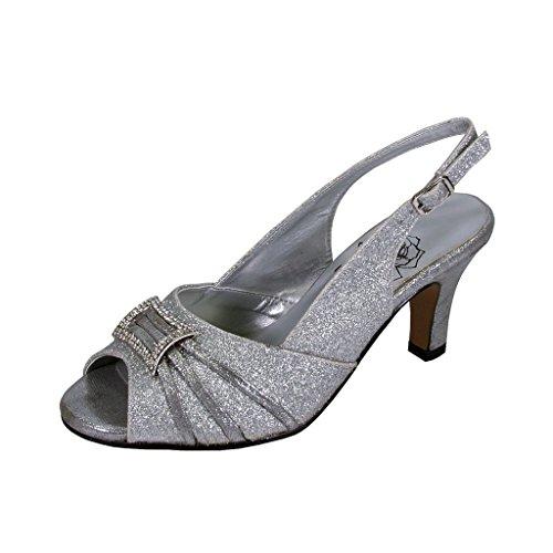 Womens Slingback Peep Toe Pumps - Floral Nadine Women Extra Wide Width Peep Toe Slingback Silver 9
