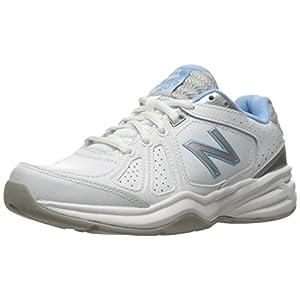 New Balance Women's WX409V3 Casual Comfort Training Shoe, White/Blue, 10 D US
