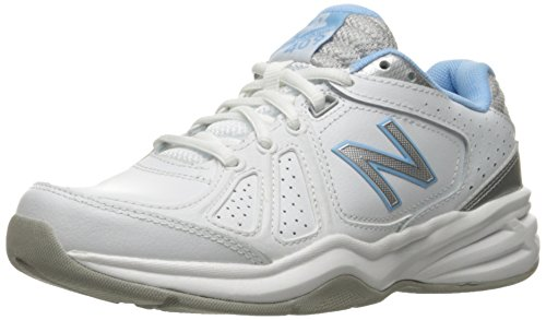 New Balance Women's WX409V3 Casual Comfort Training Shoe, White/Blue, 9.5 B US