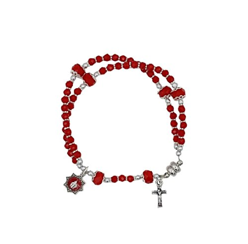 Glass Bracelet Red Bead (4mm Glass Bead Rosary Bracelet with Miraculous Medal and Crucifix Red)