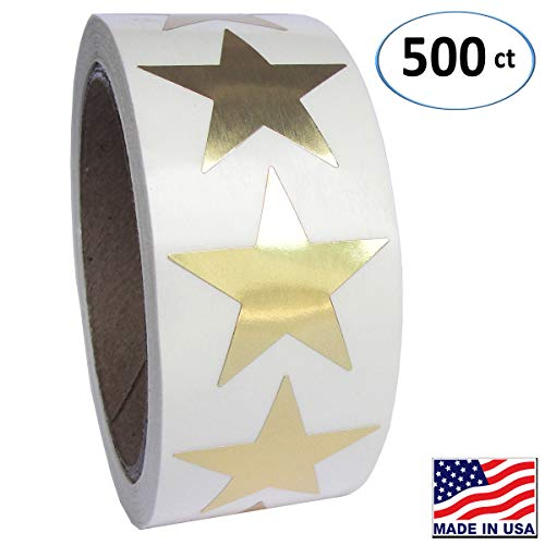 Gold Metallic Star Shape Foil Sticker Labels, 500 Labels per Roll, 1 1/2 inch Diameter, 1.5