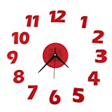 Happy Hours - Vogue 3D Frameless Wall Clock / Stereoscopic Digital Mirror Home Decor Watch / Wall Sticker Design Bell for Cafe Bedroom Living Room Dormitory(Red)