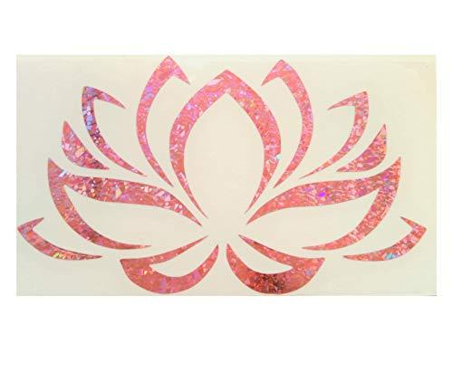 Pink Lotus Flower Floral Tribal Reflective Reflector Decal Decals Vinyl PVC Cute Beautiful Sweet Classic Sticker Motorbike Helmet Car Badge Sticker Door Window Tailgate Truck Notebook Laptop Buddhism Buddha Meditation Meditate Zen