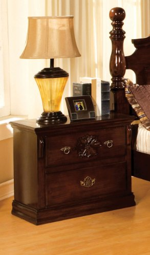 Rusky Classic Glossy Dark Pine Night Stand with Antique Gold Style Hardware