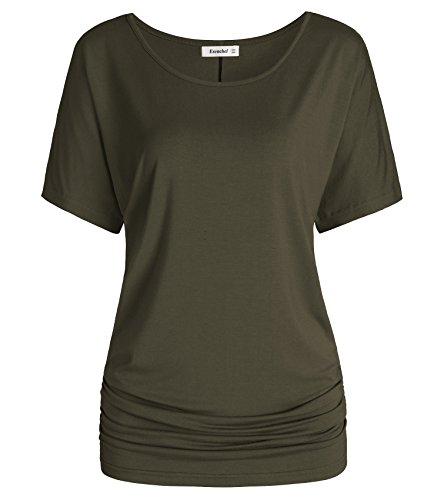 - Esenchel Women's Short Sleeve Dolman Top Scoop Neck Drape Shirt M Army Green