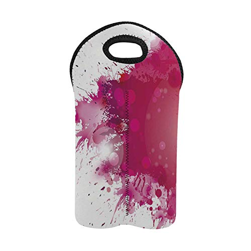 (Abstract 2 Bottle Wine Bag,Artistic Display with Pink Watercolor Splashes Paint Splatters Fluid Brush Decorative for Home,9.52