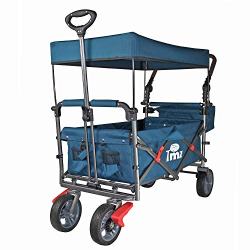 TMZ Utility Folding Wagon with Canopy, Collapsible Garden Cart, Folding Trolley Cart, for Shopping, Camping, and Outdoor Activities with Canopy and Push Handle (Blue)
