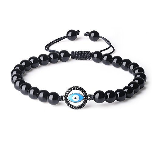 - COAI Mens Evil Eye Charm Black Obsidian Stone Beaded Bracelet