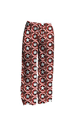 Mad Engine Marvel Captain America Distressed Shield Logo Print Mens Lounge Pants | (Captain America Merchandise)