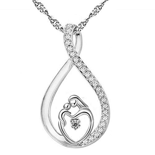 Haluoo Mom Kids Necklace, Dainty Sterling Silver Rhinestones Infinity Cross Pendant Choker Exquisite Heart Shaped Mom Hugs Kid Diamond Necklace for Mother Birthday Thanksgiving Day Gift (Silver)
