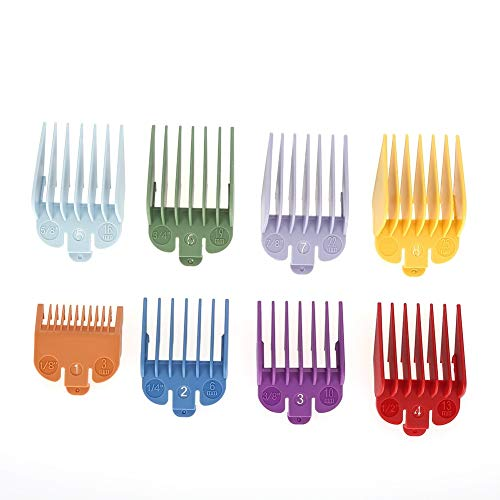 Yuehuam Colorful Hair Clipper Limit Comb Guide Attachment Set for Electric Hair Clipper Shaver Haircut Accessory 8 Sizes Guide Comb Set Clipper Spare Parts