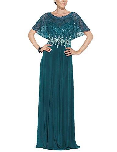 OYISHA Womens Long Chiffon Mother Of The Bride Dresses With Sleeves Beads 37MD Jade Custom