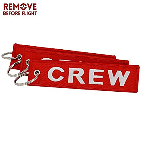 Amazon.com: Key Rings 20PCS/LOT Crew Red Embroidery Keychain ...