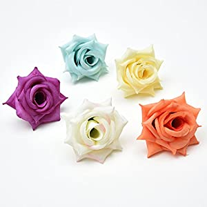 Flower Heads in Bulk Wholesale for Crafts Outdoor Artificial Rose Flower Heads Silk Flowers DIY Home Wedding Decoration Fake Flowers Party Festival Decor 20pcs 5cm 2