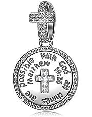 NINAQUEEN® Bead Charm con Dio Tutto è Possibile Argento Sterling 925, Messaggiamo, con Confezione Regalo