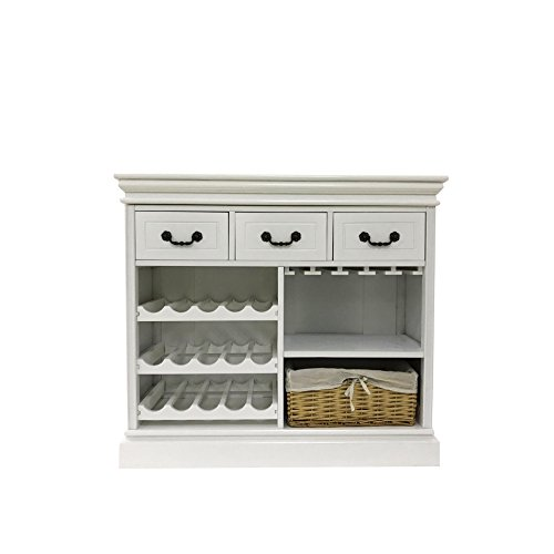 Furniture Rebecca® Portavino Wine Rack Bottle Holder White Wood ...