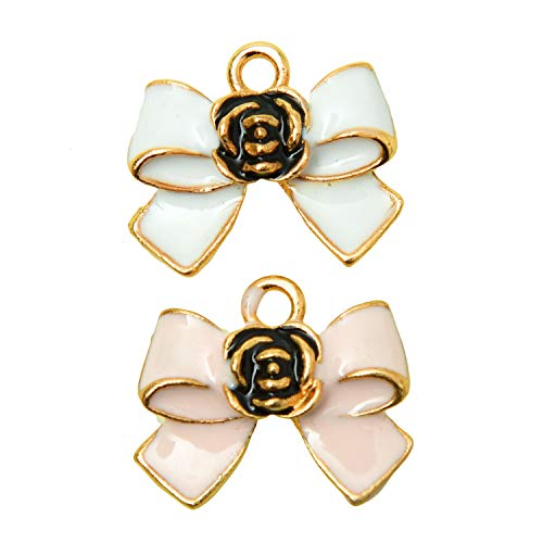 Monrocco 20 Pcs Enamel Bow Charms Rose Flower Bow Tie Bowknot Charms Pendant for Bracelets Jewelry ()