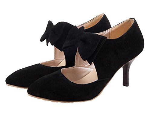 Amoonyfashion Femmes Solides Givré Chaton-talons Pull-sur-orteil Pompes-chaussures Noir