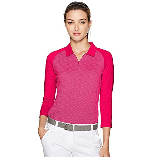adidas Golf Women's 3/4 Sleeve Zippered Polo, Energy Pink, Small