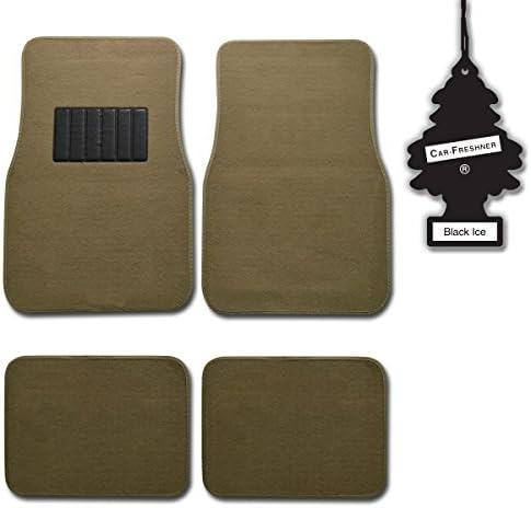 BDK Medium Beige 4 Pc Universal Carpet Car Mats w/Heel Pad + Little Tree (Black Ice)