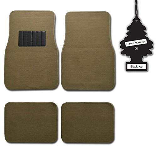 bdk-medium-beige-4-pc-universal-carpet-car-mats-w-heel-pad-little-tree-blackice