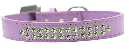 Mirage Pet Products Two Row Lime Green Crystal Lavender Dog Collar, Size 20 by Mirage Pet Products