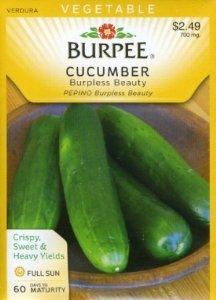 Burpee Cucumber Burpless Beauty 25 Hybrid Seeds per Packet