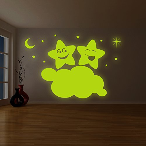 ( 87'' x 58'' ) Glowing Vinyl Wall Decal Twin Stars on Cloud / Glow in the Dark Sticker / Happy Star Luminescent Mural Kids, Baby Room + Free Decal Gift! by Slaf Ltd.