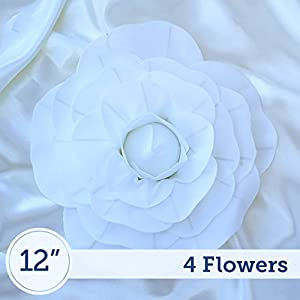 BalsaCircle 4 pcs 12″ Wide White Artificial Large Roses Flowers Wall Backdrop Party Wedding Decorations