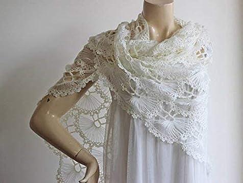 f3674b27ff Winter Wedding Ivory Lace Shawl -Evening Shawls Wraps Shrugs Jackets for  dresses Formal-Wool. Loading Images.