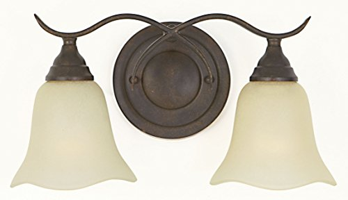Feiss VS10602-GBZ Morningside Glass Wall Vanity Bath Lighting, Bronze, 2-Light (15