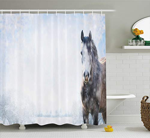 - Ambesonne Country Shower Curtain, Grey Horse on Winter Landscape with Snowfall in Wilderness Royal Animal in Nature, Cloth Fabric Bathroom Decor Set with Hooks, 75