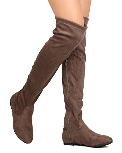 High Lace Heels Thigh (ShoBeautiful Women's Over The Knee Flat Boots Stretchy Back Lace Tie Up Low Heel Winter Thigh High Dress Boots Taupe 9)