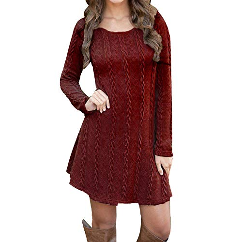 - Sweater Dresses Tunic for Women,Sunyastor Ladies Long Sleeve Crewneck Knitted Sweater Dress Pullover Elegant Mini Dress