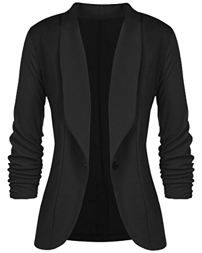 sanatty Women's 3/4 Ruched Sleeve Open Front Lightweight Work Office Blazer Jacket Black Fitted Jacket