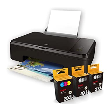 Kodak Verite Wireless Color Photo Inkjet Printer Scanner & Copier XL Ink Bundle (V65MEGA3ECO/37)