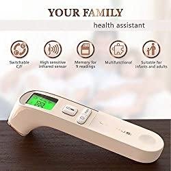 Medical Forehead Thermometer - Digital Baby Thermometer for Fever - Digital Temporal Thermometer - Forehead Thermometer for Kids and Adults - Portable Thermometer with Case - Fast Baby Thermometer