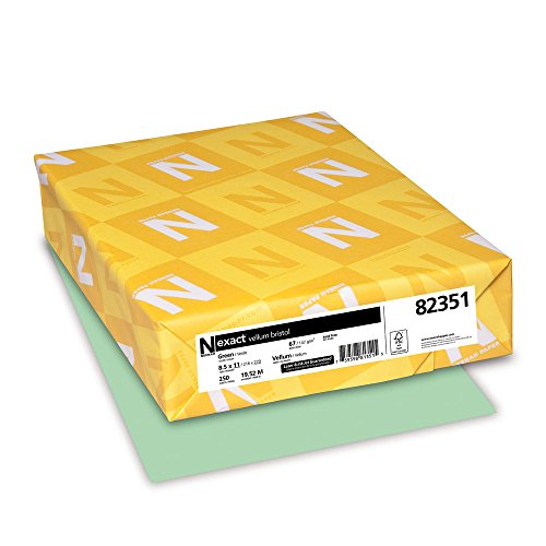 Wausau Paper 82351 Neenah Exact Vellum Bristol, 67 lb, 8.5 x 11 Inches, 250 Sheets, (Green Colored Paper)