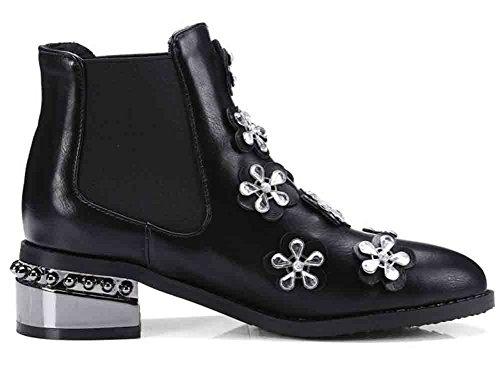 Easemax Heel Toe Slip Black Womens On Low Pointed Boots Ankle Block Sweet Floral Rhinestones vvwqFr