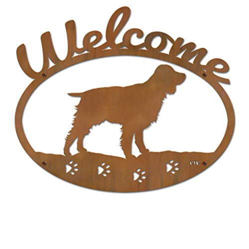 Cold Nose Creations 22in English Springer Spaniel Dog Breed Silhouette Metal Welcome Sign