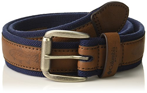 Columbia Leather (Columbia Men's Stretch Casual Belt, navy/brown, Xlarge)