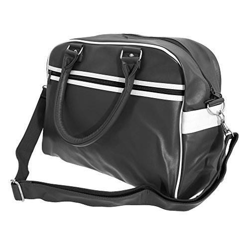 Bowling Purse - Bagbase Original Retro Shoulder Strap Bowling Bag (One Size) (Black/White)
